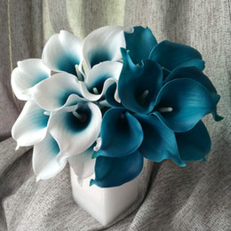 Wholesale Teal Blue Decorations - Wholesale-100 Real Touch Calla Lily Teal Latex Calla Lilies Teal Blue Wedding Flower For Wedding Centerpieces Decoration Wholesale Flowers