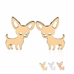 Wholesale Earring Gold 18k Baby - New Chihuahua Baby Dog Earring Copper Materia Fashion Studs Earrings Accessories Jewelry For Kids Grils Women EFE069