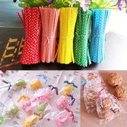 2019 tiranti per borse All'ingrosso- Candy Color Dot Stampa Twist Ties Filo per cake Pops Sealing Cello Bags Lollipop Gifts Packgae 100Pcs / pack sconti tiranti per borse