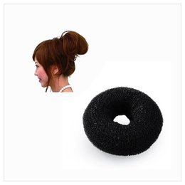 Wholesale Hair Extension Chignon - DHL 2017 Hot Hair Bun Black Donut Women Girls Hair Bun Synthetic Scrunchie Cover Bun Cage Wrap Maker Hairpiece Clip in Hair Extension Brid