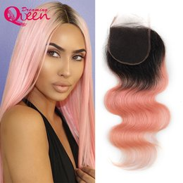 Wholesale 1b Pink Human Hair - 1B Pink Body Wave Lace Closure Ombre Brazilian Human Hair Pink 4x4 Closures Virgin Human Hair Dreaming Queen Hair