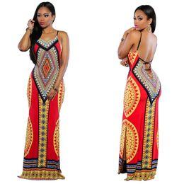 Wholesale Ladies Bohemian Long Dress - New Fashion Long Bodycon Women Dresses Spaghetti Strap Top Ankle Length Sexy Ladies Maxi Dress Vestidos