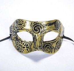 Wholesale Plastic Skulls - Ancient Rome Men's Masquerade Mask Fancy Dress Venetian Masks Masquerade Masks Plastic Half Face Mask Optional Multi-color WA2004