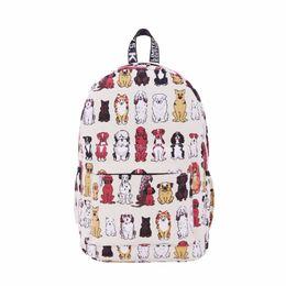 Wholesale Cute Cartoon Dog Backpack - Wholesale- Fashion Women Canvas Backpack Cute Cartoon Dog Printing Backpacks Laptop Backpack for Teenage Girls School Shoulder Bag