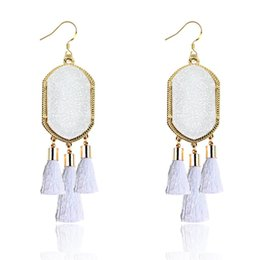 Wholesale Blue Heart Earrings - Luxury Brand Signature Dangle Earrings Gold Bezel Geometric Tassel Ear Eardrop Fashion White Pink Blue Black Earring For Women