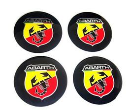 Wholesale Emblem Abarth - 4pcs Car Emblem Wheel Center Cover Caps Sticker Badges Emblems Aluminum Sticker For WRC Abarth