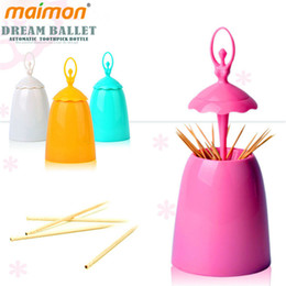 Wholesale Wholesale Decorative Containers - Wholesale- Decorative Design Ballet Dancer Automatic Toothpick Dispenser Bucket Home Table Plastic Toothpick Holder Container Box