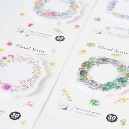 Wholesale Schools Accessories - 36 Pcs Lot Flower Wreath Sticky Note 30 Sheet 70mm Watercolor Floral Memo Pad Stationery Office Accessories School Supplies