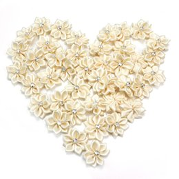 Wholesale Small Rhinestone Hair Clips - Wholesale- 40pcs Lot Small Fabric Satin Flowers with Rhinestone without Hair Clip Headbands Appliques Sewing DIY Garment Accessories Craft