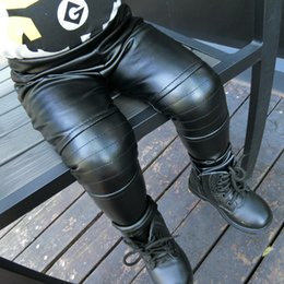 Wholesale Girls Black Leather Leggings - INS baby kids pants children PU leather leggings winter girls black thicken warm trousers toddler princess dress bottomings tights R0394