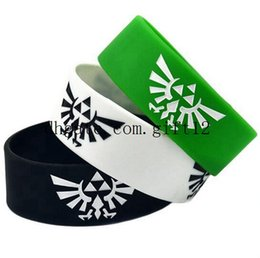Wholesale Coloured Wristbands - mix 50PCS Lot Legend Of Zelda Silicone Wristband Bracelet Logo Debossed With Colour Adult