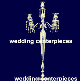 Wholesale Vases For Centerpieces - no flowers including ) Tall silvery wedding pillar flower stand,vase centerpieces for aisle mental decoration