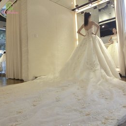 2017 Vestido De Novia SSYFashion Princess Married Luxury Wedding Dress Lace  up Flower Long Tail Strapless Beautiful Wedding Bridal Ball Gown 0534f288c364