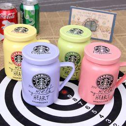 Copas para parejas online-Taza de café de cerámica con tapa 100% Starbuck Pareja original Taza de café Taza de moda Regalo de calidad envío rápido