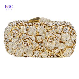 Wholesale Crystal Rose Evening Handbag - Wholesale-LaiSC Luxury crystal clutch evening bag Gold rose flower party purse women wedding bridal handbag pouch soiree pochette SC013