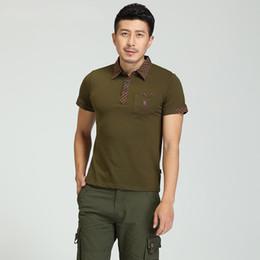 2019 t shirt col pour homme vert Turn Down Collar t-shirt marque armée vert chemises nouvelle mode masculine à manches courtes T-shirts à rayures T-shirt pour hommes promotion t shirt col pour homme vert