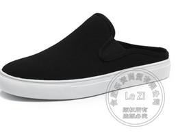 Wholesale Mens Plimsolls - Canvas Shoes Mules Tip Binding Lazy Shoes Plimsolls Pure Color Alternative Scuff Plain Mens Shoes Sandals Slipper
