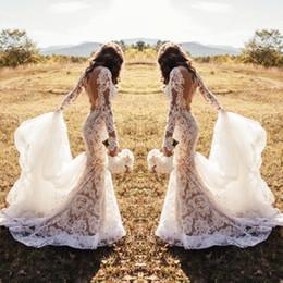 2019 vestidos longos longos sexy e lindos 2019 Hot Romântico Cheia de Renda Vestidos de Casamento Branco Sereia Ilusão Mangas Compridas Sexy Backless Appliqued Longo Ocidental Country Vestidos de Noiva vestidos longos longos sexy e lindos barato