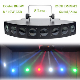 Wholesale Dmx Stage Light Bar - Wholesale- New 8 Heads LED RBGW DMX Beam Digital Display Stage Lights Show Disco Bar Xmas Home Party DJ Lighting LE8H