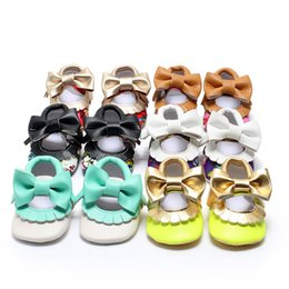 Wholesale Wholesale Mary Janes - Kids PU Leather Footwear Floral Mary Janes Big Bow Baby Girl Princess Moccasins Soft Moccs First Walkers Shoes 6 colors 0101127