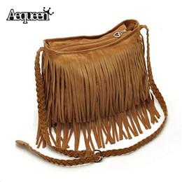 Wholesale Celebrity Style Tassel - Wholesale-Fashion European American Star Style Celebrity Faux Suede Tassel Handbag Fringe Cross Body Messenger Shoulder Sling Bags