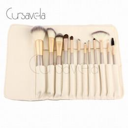 Wholesale Makeup Brushs - Makeup Brushes Set Beige 12Pcs Set Make up Brushs Foundation Powder Brush Luxury Blush Cosmetic Makeup Kit With PU Bag