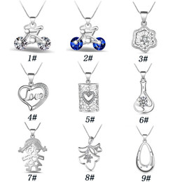 Wholesale Bicycle Jewelry Women - Fashion Crystal Bicycle Pendant Necklaces Women European Charm LOVE Necklace Snake Chain DIY 925 Sterling Silver Jewelry