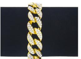 Wholesale Mens Luxury Chain - Luxury Cuban Mens Bracelet Fashion Jewelry Inlay Zircon full of Chain Link Bracelet Jewelry