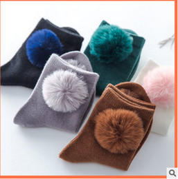 Wholesale Fits Kids - Baby girls socks with pompon princess socks autumn new children knitting socks fit 3-12T Kids cotton sock girl winter warm sock T4652