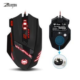 Wholesale Wire Weight - Zelotes T90 USB Wired Computer mouse Optical Game Mause 9200DPI 8 Buttons Weight Tuning Set LED Gaming Mice for Laptop PC Gamer