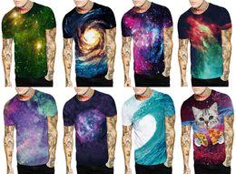 Wholesale Plus Men T Shirt - 2017 Fashion Men 3D Galaxy Print T-shirt Street Wear Tee Plus Size Short Sleeves O-neck Tops