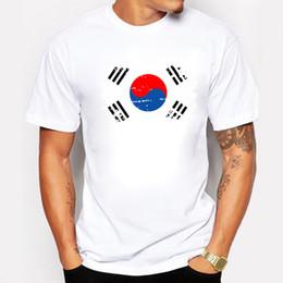 Wholesale Korea Top Tee - Korea Fans Cheer Tshirts For Men Korea National Flag Tee Tops Shirts Summer Cotton Casual T-shirts Nostalgic Style Swag