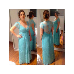 Wholesale Mother Bride Empire - 2017 Couture Lace Mother Of The Bride Dresses Grooms Cap Sleeves Mint Green Empire Illusion Back Sexy V-neck Women Weddings Party Gowns