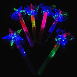 Wholesale Wholesale Plastic Fairy Wands - Magic Fairy Stick Children LED Toys Colorful Xingyue Magic Wand Wholesale Ice Princess Enchanted Crown Flash Stick Wholesale