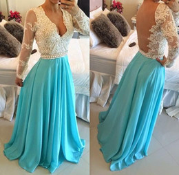 Wholesale turquoise long pageant dresses - New Ivory and Turquoise Prom Dresses Deep V Neck Formal Evening Gowns Beaded Crystal Sequins Lace Low Back Pageant Dresses