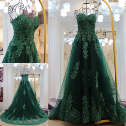 Wholesale Deep V Sweetheart Dress - Off the Shoulder Lace Applique Crystal Beadings Green Evening Dresses Ball Gown Lace Up Back Prom Dress robe de soiree longue