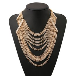 Wholesale Multilevel Necklace - Fashion Multilevel Long Chain Tassel Necklace For Women 2017 Torques Choker Collar Statement Necklaces Pendants Woman Jewelry