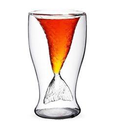 Doppelschichten Glas Becher Kristall Meerjungfrau Tasse Wodka Trinken Bar Party Supplies Klar Transparent Tassen von Fabrikanten