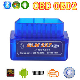 Wholesale Mini Wireless Scanner - Wholesale- OBD2 OBD ii Wireless V2.1 Super Mini ELM327 Bluetooth Interface Car Scanner Diagnostic Tool ELM 327 For Android Torque Windows