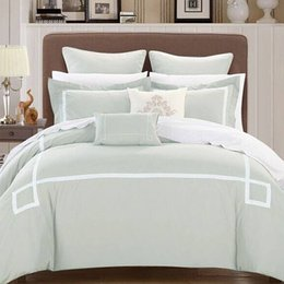 Wholesale Six Piece Bedding Sets - Customizable High- end Solid Colo Egyptian cotton European Bedding Sets, Simple Comfortable, Six Piece Suit