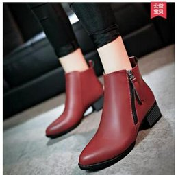 Wholesale Thick Korean Women Models - 2017 autumn and winter models female with thick side zipper Korean version of the wild women's shoes British motorcycle boots boots women si