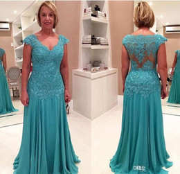 Wholesale Short Formal Dresses Turquoise - 2017 Hot Selling Turquoise Lace Chiffon Mermaid Moms Gowns V-Neck Cap Sleeve Applique Mother of the Bride Dresses Formal Evening Gowns