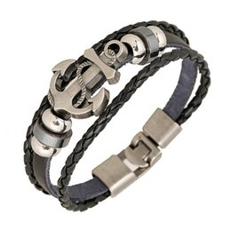 Wholesale Fashion Beaded Bracelets - Wholesale Fashion Jewelry anchor Alloy Leather Bracelet Men Casual personality PU Woven Beaded Bracelet Vintage Punk Bracelet Women B0452