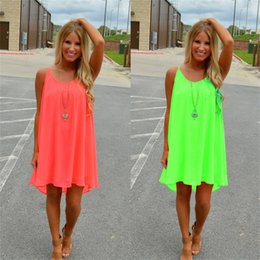 Wholesale Women Wholesale Apparel - New Fashion Sexy Casual Dresses Women Summer Sleeveless Evening Party Beach Dress Short Chiffon Mini Dress BOHO Womens Clothing Apparel