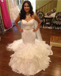 Wholesale Tulle Sweetheart Beading Wedding Dress - Amazing Lace Mermaid Wedding Dresses Vestidos 2017 Custom Sweep Train Beading Sash Tiered Tulle Bridal Party Dress Zipper Back Sweetheart