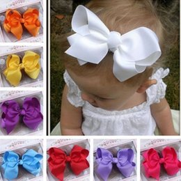 Wholesale Wholesale Metallic Ribbon - Wholesale- 2016 New Style Hot Sales Multi-colors Baby & Girl Headdress Grosgrain Ribbon Pin Flower Accessories Bow Hair Clip