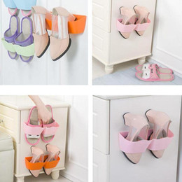 Wholesale Pink Wall Shelves - Hot Sale Wall-Mounted Sticky Hanging Shoe Holder Hook Shelf Rack Organiser Accessories Storage Holder