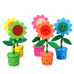 Wholesale Flowers Puzzle - Wooden Puzzle Toys Wooden Spring 2017 new Swinging Flowers Multicolored Smiley Floral Wooden Baskets free shipping