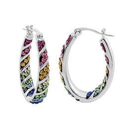 Wholesale 14k Gold Filled Hoop - JLN Out Inside Graduated Multi Color Crystal Rhinestone Hoop Earrings- Rainbow Color