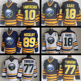 Wholesale Buffalo Logos - cheap Embroidery Logo Buffalo Sabres jersey #18 Danny Gare 77 Pierre Turgeon 89 Mogilny #10 Hawerchuk Ice Hockey Throwback Jerseys